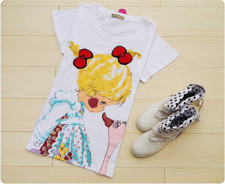 韩版新款 百搭可爱女孩和小鸭子t恤