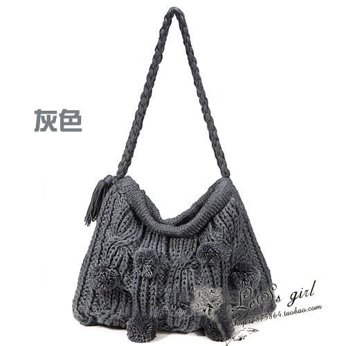 日本秋冬vivi手工编织大气可爱甜美针织毛线包包