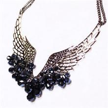 天使之翼 羽毛翅膀 闪亮水晶项链